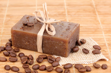 Hand-made soap on wooden mat