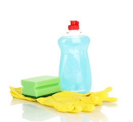 Dishwashing liquid with gloves and sponge isolated on white
