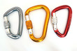 Climbing equipment - three multicolor carabiners