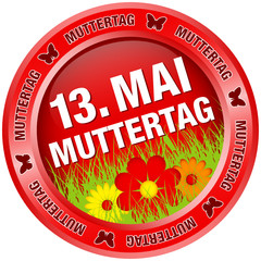 "Button Blumen ""13. Mai Muttertag"" rot"