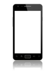Modern smart phone with blank screen isolated on white.
