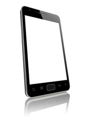 Modern smart phone with blank screen isolated