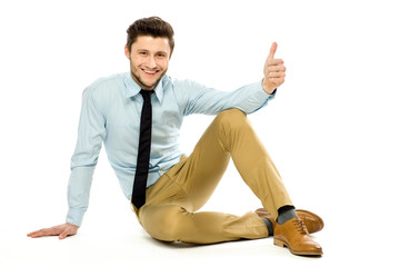 Man sitting with thumbs up