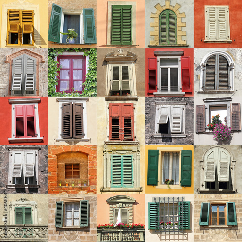 collage with old windows from Italy, Europe - 40610534