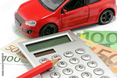taschenrechner mit auto und euro