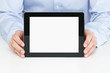 Office worker holding blank digital tablet with clipping path fo