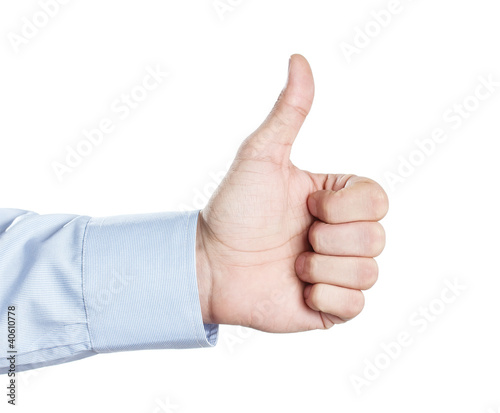 Male hand showing thumbs up or like symbol isolated on white bac