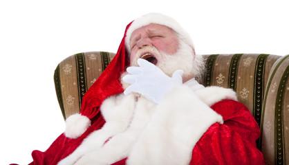 Weihnachtsmann gähnt müde