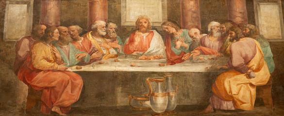 Rome - fresco of Last super of Christ - Santa Prassede