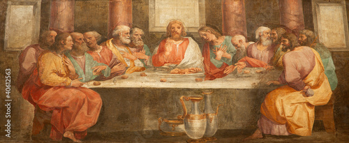 Rome - fresco of Last super of Christ - Santa Prassede