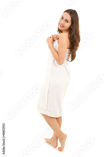 cheerful teenage girl in towel, full length