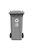 Large gray trash can with recycle mark