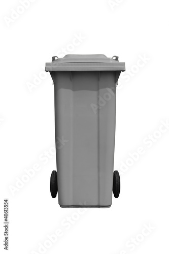 Large gray trash can