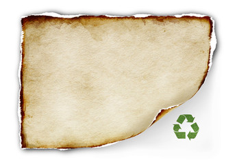 old paper and recycle sign on white background