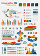 Retro Infographics Elements with world map