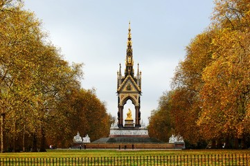 The Albert memorial surrounded by autumn trees. London, UK