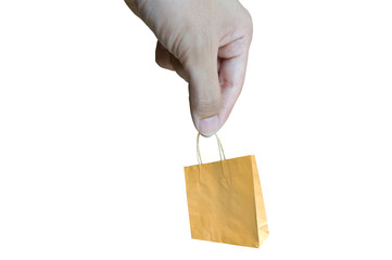 Human holding a brown paper bag in his hand.