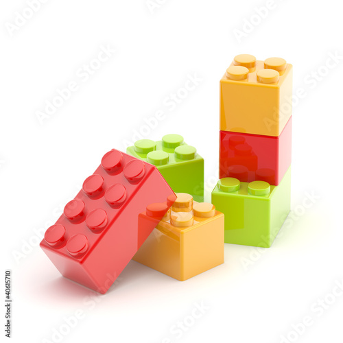 Toy construction brick blocks on white