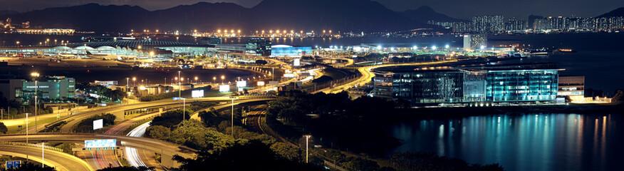 modern city night airport