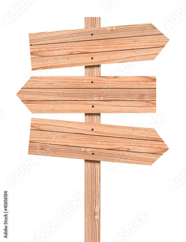 Blank Wooden direction sign isolated on white, clipping path inc