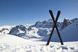 Pair of cross skis in snow