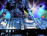 Fototapety Dj mixes the track in nightclub at party