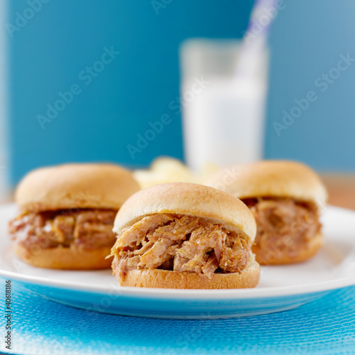 three pulled pork bbq mini sandwhich sliders.