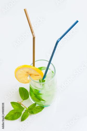 Tall drink with mint and ice