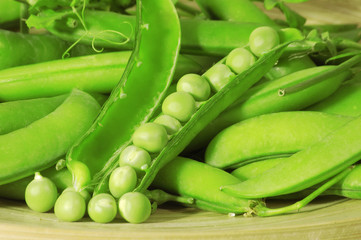 Legume fresh peas close up