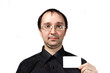 Solid men in black shirt with businesscard