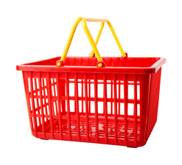 An empty plastic shopping basket on a white background