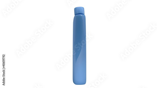 Plastic detergent bottle rotates on white background