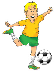 An excited boy about to kick a soccer ball.