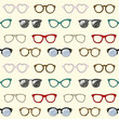 Seamless pattern with retro glasses and frames