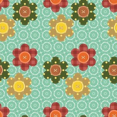 seamless pattern with scrapbook flowers