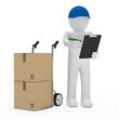 man with hand truck and checklist