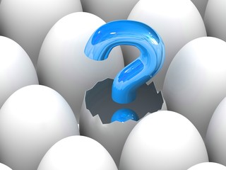 Question mark sign hatching from egg.