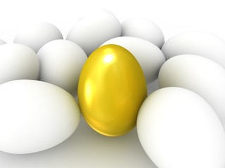 Golden egg among white eggs. Wealth concept.