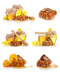 a collage of some compositions jars of honey and the honeycomb
