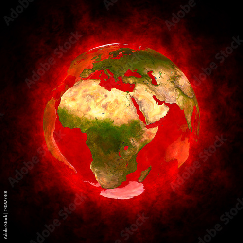 Red aura of Earth - Europe Africa and Asia
