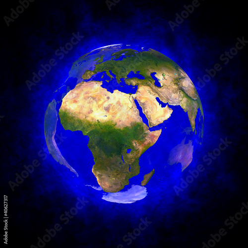 Blue aura of Earth - Europe Africa and Asia