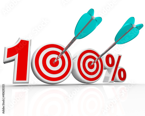 100 Percent Arrows in Targets Perfect Score