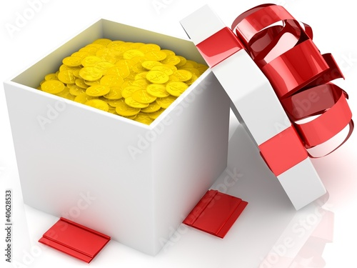 Gift box over white background with gold coins
