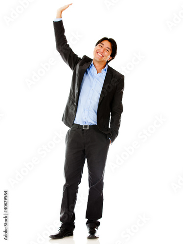 Businessman raising his hand