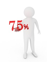 Human giving seventy five red percentage symbol isolated on whi