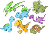 Cute Dinosaur Animal Vector Illustration Doodle Art Set poster