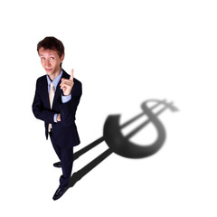 Businessman with shadow as a currency symbol