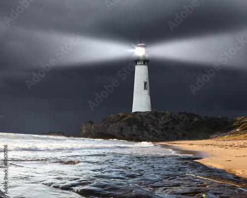 Leinwanddruck Bild Collage with lighthouse