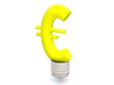 Money making idea. Light bulb with Euro symbol.