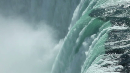 Canadian horseshoe Niagara falls closeup from above